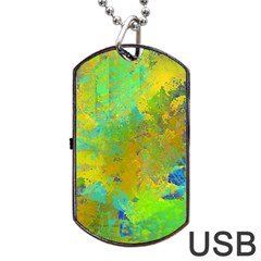 Abstract In Blue, Green, Copper, And Gold Dog Tag Usb Flash (two Sides)  by theunrulyartist
