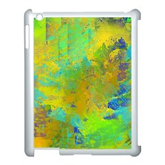 Abstract In Blue, Green, Copper, And Gold Apple Ipad 3/4 Case (white) by theunrulyartist