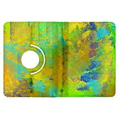 Abstract In Blue, Green, Copper, And Gold Kindle Fire Hdx Flip 360 Case by theunrulyartist