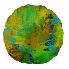 Abstract In Blue, Green, Copper, And Gold Large 18  Premium Flano Round Cushions by theunrulyartist