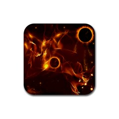 Fire And Flames In The Universe Rubber Square Coaster (4 Pack)  by FantasyWorld7