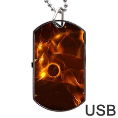 Fire And Flames In The Universe Dog Tag Usb Flash (two Sides)  by FantasyWorld7