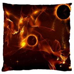 Fire And Flames In The Universe Large Cushion Cases (one Side)  by FantasyWorld7