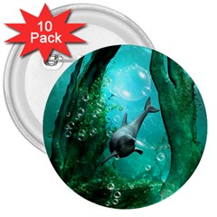 Wonderful Dolphin 3  Buttons (10 Pack)  by FantasyWorld7