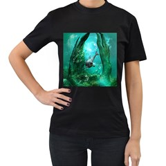 Wonderful Dolphin Women s T Shirt (black) by FantasyWorld7