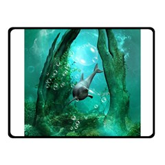 Wonderful Dolphin Fleece Blanket (small) by FantasyWorld7