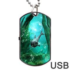 Wonderful Dolphin Dog Tag USB Flash (Two Sides)  by FantasyWorld7