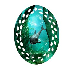 Wonderful Dolphin Oval Filigree Ornament (2 Side)  by FantasyWorld7