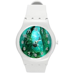Wonderful Dolphin Round Plastic Sport Watch (m) by FantasyWorld7