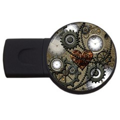 Steampunk With Heart Usb Flash Drive Round (4 Gb)  by FantasyWorld7