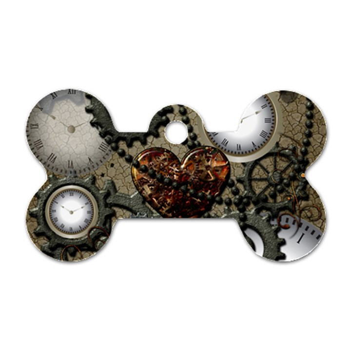Steampunk With Heart Dog Tag Bone (Two Sides)