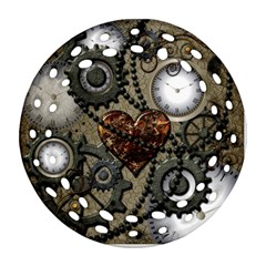 Steampunk With Heart Round Filigree Ornament (2side) by FantasyWorld7