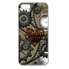 Steampunk With Heart Apple Seamless Iphone 5 Case (clear) by FantasyWorld7