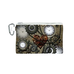 Steampunk With Heart Canvas Cosmetic Bag (s) by FantasyWorld7