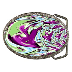 Purple, Green, And Blue Abstract Belt Buckles by theunrulyartist