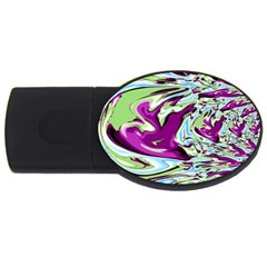 Purple, Green, And Blue Abstract Usb Flash Drive Oval (4 Gb)  by theunrulyartist