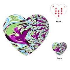 Purple, Green, And Blue Abstract Playing Cards (heart)  by theunrulyartist