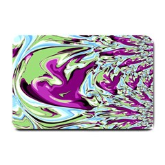 Purple, Green, And Blue Abstract Small Doormat  by digitaldivadesigns