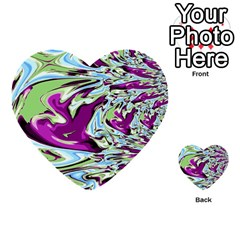 Purple, Green, And Blue Abstract Multi Purpose Cards (heart)