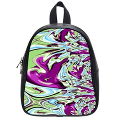 Purple, Green, And Blue Abstract School Bags (small)  by theunrulyartist
