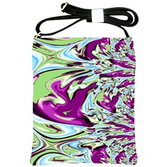 Purple, Green, And Blue Abstract Shoulder Sling Bags by theunrulyartist