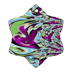 Purple, Green, And Blue Abstract Snowflake Ornament (2 Side) by digitaldivadesigns