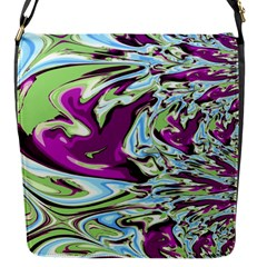 Purple, Green, And Blue Abstract Flap Messenger Bag (s) by theunrulyartist