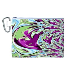 Purple, Green, And Blue Abstract Canvas Cosmetic Bag (l) by theunrulyartist