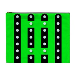 Florescent Green Polka Dot  Cosmetic Bag (xl)