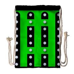 Florescent Green Polka Dot  Drawstring Bag (large) by OCDesignss