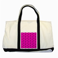 Hot Pink Black Polka Dot  Two Tone Tote Bag