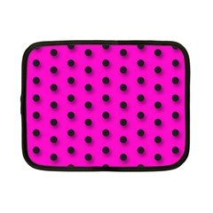 Hot Pink Black Polka Dot  Netbook Case (small)