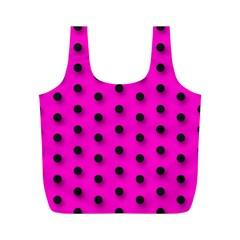 Hot Pink Black Polka Dot  Full Print Recycle Bags (m)