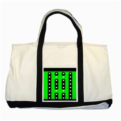 Florescent Green Black Polka Dot  Two Tone Tote Bag
