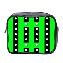 Florescent Green Black Polka Dot  Mini Toiletries Bag 2 Side