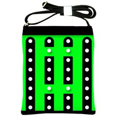 Florescent Green Black Polka Dot  Shoulder Sling Bags
