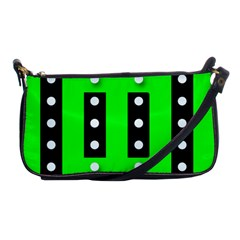 Florescent Green Black Polka Dot  Shoulder Clutch Bags