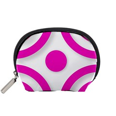 Florescent Pink White Abstract  Accessory Pouches (small)