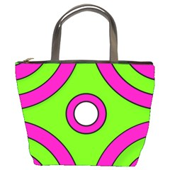Neon Green Black Pink Abstract  Bucket Bags by OCDesignss