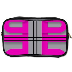 Florescent Pink Grey Abstract  Toiletries Bags 2 Side