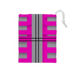 Florescent Pink Grey Abstract  Drawstring Pouches (medium)