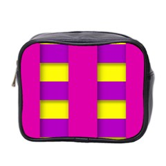 Florescent Pink Purple Abstract  Mini Toiletries Bag 2 Side