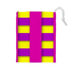Florescent Pink Purple Abstract  Drawstring Pouches (large)