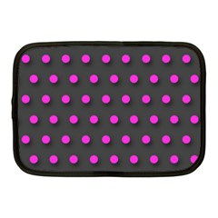 Pink Grey Polka Dot  Netbook Case (medium)  by OCDesignss