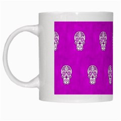 Skull Pattern Hot Pink White Mugs by MoreColorsinLife