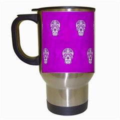 Skull Pattern Hot Pink Travel Mugs (white) by MoreColorsinLife