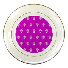 Skull Pattern Hot Pink Porcelain Plates by MoreColorsinLife