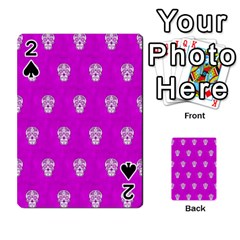Skull Pattern Hot Pink Playing Cards 54 Designs  by MoreColorsinLife