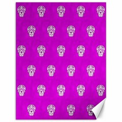 Skull Pattern Hot Pink Canvas 12  X 16   by MoreColorsinLife