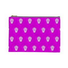 Skull Pattern Hot Pink Cosmetic Bag (large)  by MoreColorsinLife